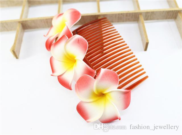 10/pcs 12cm length 9 kinds of color you choose Fabulous Hawaii Plumeria flowers Foam Frangipani Flower comb bridal hair clip