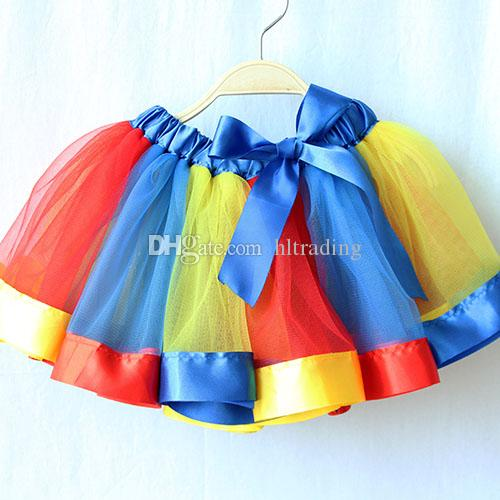 Neonato Tutu Gonne Fashion Rainbow Net filato baby Girls gonna costume di Halloween i bambini Bow gonna in pizzo solo gonna C3785