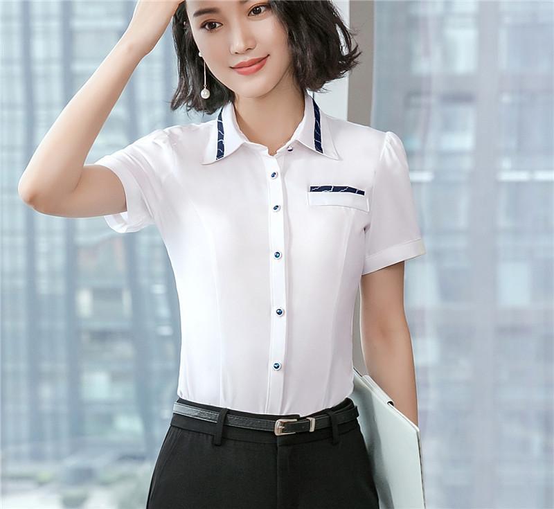 63a4b22d7aaf1 Compre Nuevos 5 Estilos Mujeres Blusas De Trabajo Camisas Blanco Verano  Manga Corta Damas Oficina Uniforme Blusa Femenina OL Estilos A  9.78 Del ...