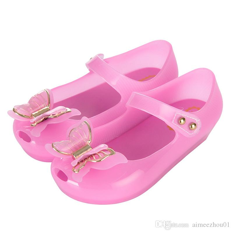Summer Shine Mini Melissa Little Butterfly Knot LED Light Girls Sandals Bow Kids Shoes Children Beach Sandals LED Flash Antiskid Jelly Shoes