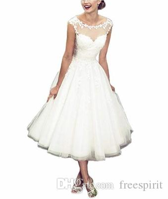 Discount Vintage Women S Elegant Sheer Vintage Tea Length Lace Wedding Dress  White Ivory Short Beach Bridal Gowns Custom Made Wedding Gowns Destination  ... 7584375c1f