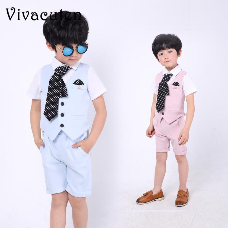 05f66d3af 2019 Flower Boys Summer Suit Set Gentleman Kids Boy Vest Shorts ...