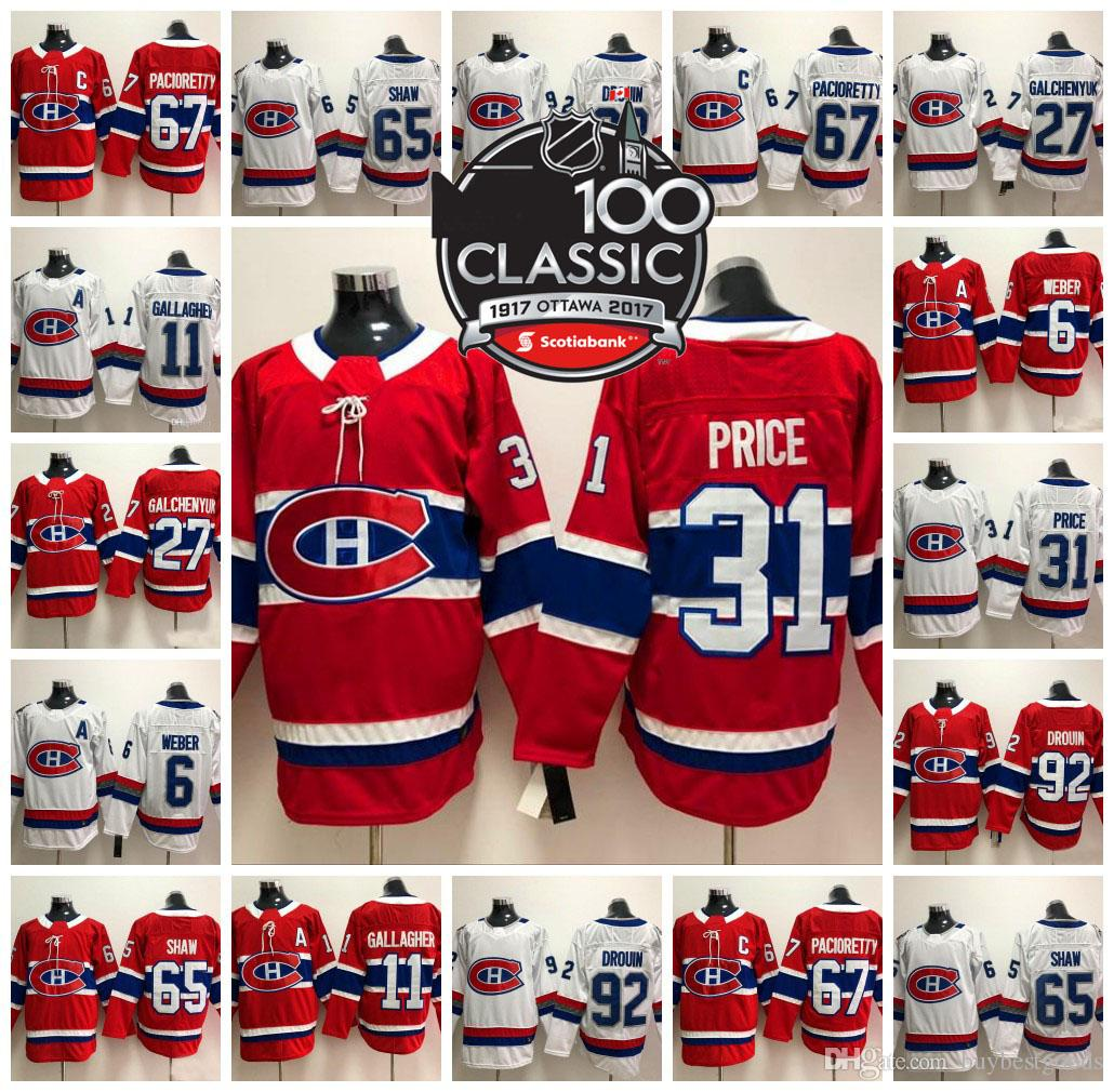b4532274567 2019 100 Classic Montreal Canadiens Hockey Jerseys 31 Carey Price 6 Shea  Weber 92 Jonathan Drouin 67 Max Pacioretty 11 Brendan Gallagher Jerseys  From ...