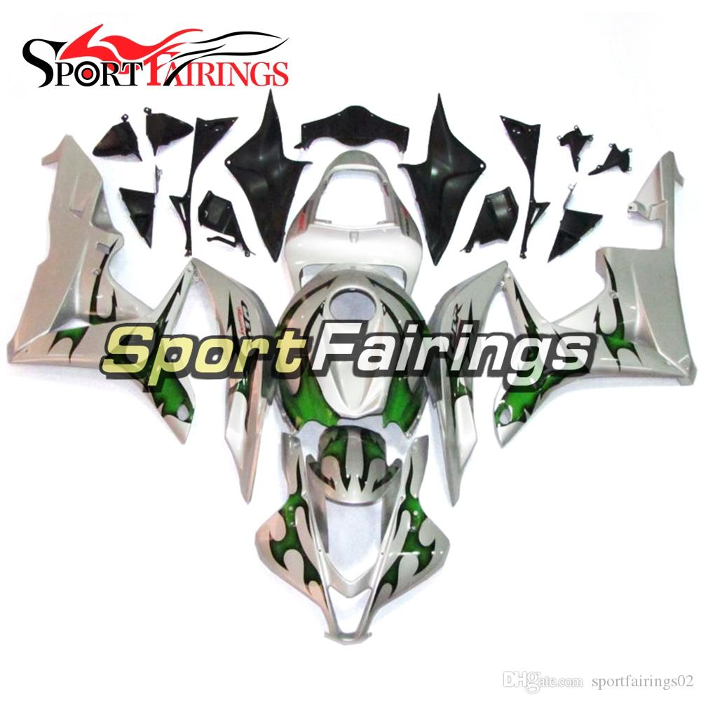 Silver Green Flames Fairings For Honda Cbr600rr 2007 2008 Cbr600 Rr Motorcycle Frames 07 08 Injection Abs Plastic Fairing Kit Cowlings Body Carenes Unpainted
