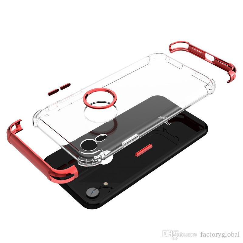 High Quality Transparent TPU Plating Three-stage Phone Case Cover Shield For iphone X/XS/XS MAX with Opp Bag Package DHL