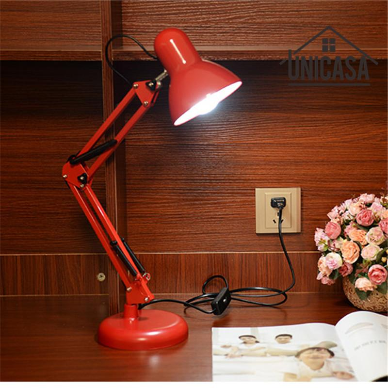 Red Desk Lamps Adjustable Clip Table Lights Bedside Desktop - Red table lamps for bedroom