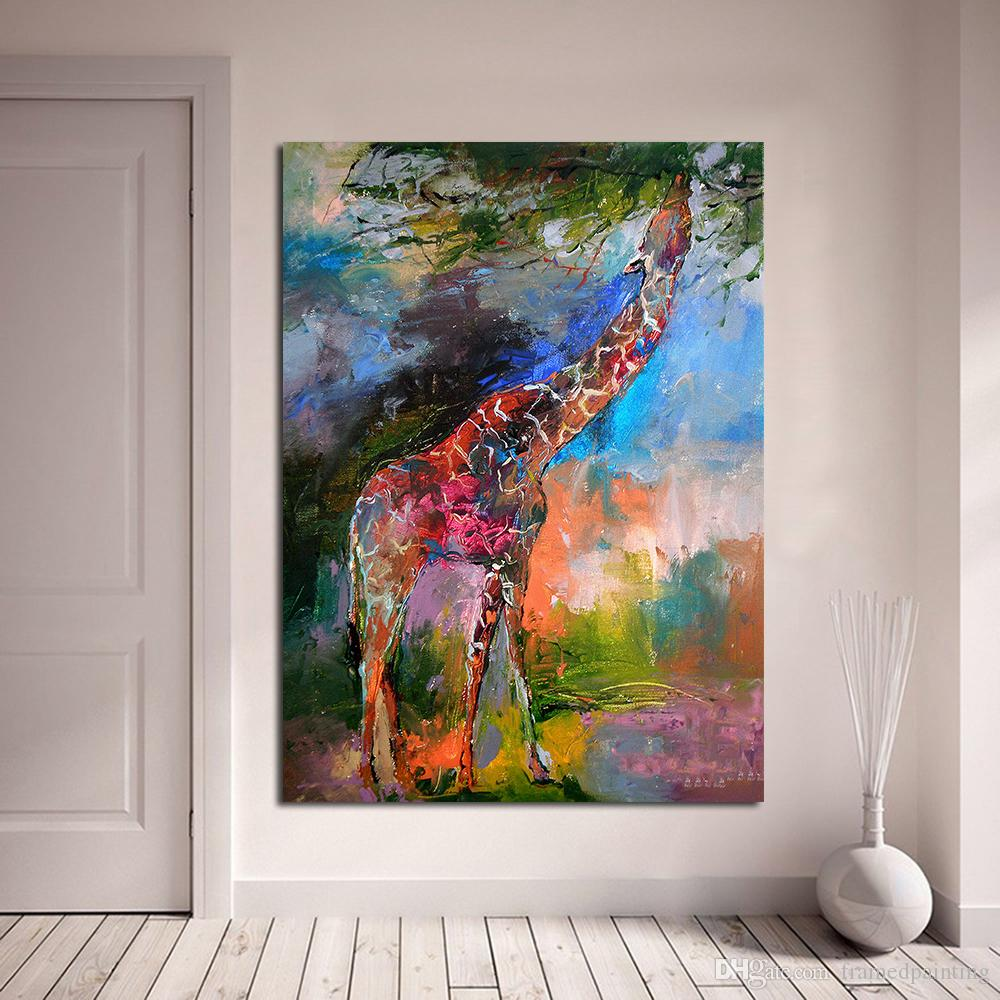 Fine Art Giraffe by Richard Wallich Oil Painting on Canvas for living Room Bedroom Decoration wall Posters and Prints No Framed