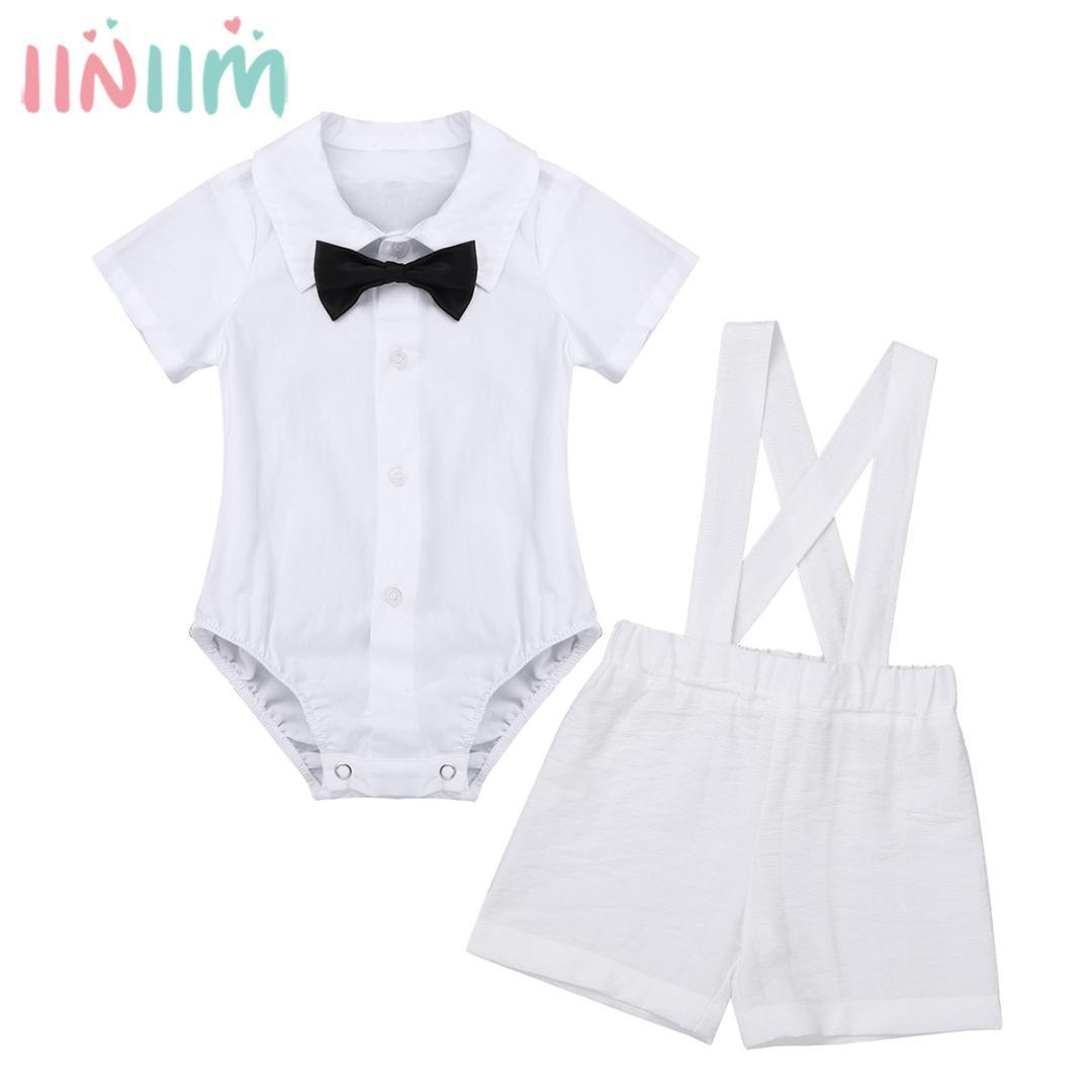 234a51353ae80 Newborns Infant Baby Boys Clothing Baptism Outfit Party Clothes Lapel  Romper Jumpsuit with Bow Tie Suspender Linen Shorts Set