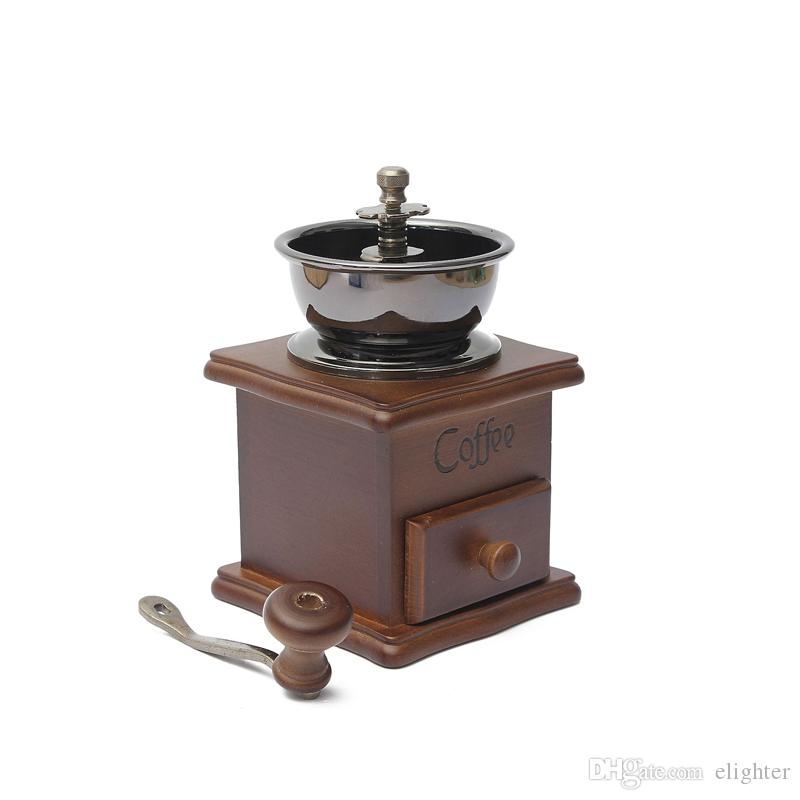 Mini Wooden Manual Coffee Bean Grinder Burr Spice Vintage Spice Coffee Grinder Retro Manual Hand Crank Wooden Metal Herb Burr Mill