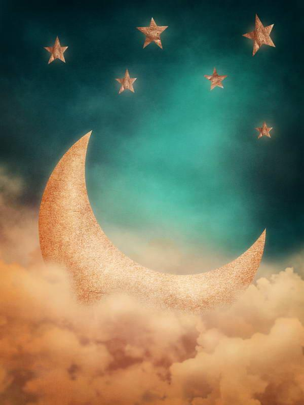 2018 5x7ft vinyl digital cartoon 3d moon stars sky backdrop for kids