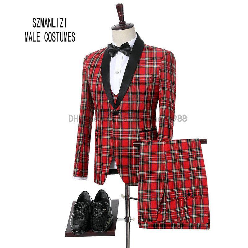 2018 Fashon Italien Conception Rouge Plaid Matin Dîner Costume Hommes Slim Fit Marié Robe De Mariée Hommes De Mariage Costumes 3 Pièce Hommes Tuxedo