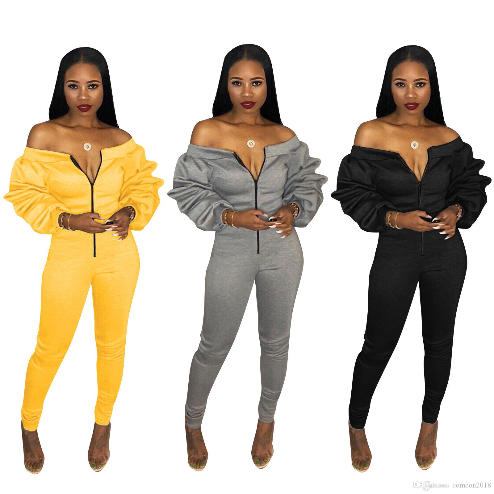 db059670454 2019 Designer Women Clothes Off Shoulder Casual Jumpsuits Women Overalls  Autumn Winter Long Sleeve Zipper Rompers Womens Jumpsuit Party Jumpsuits  From ...