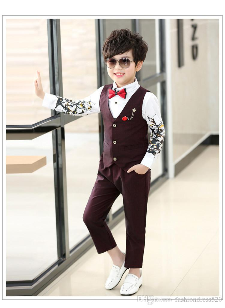 725e5c4459f3 2018 Spring autumn kids boys vest suits blazer boys wedding clothes single  breasted formal children wdding tuxedos Vest+Shirt+Pant 3pcs Set