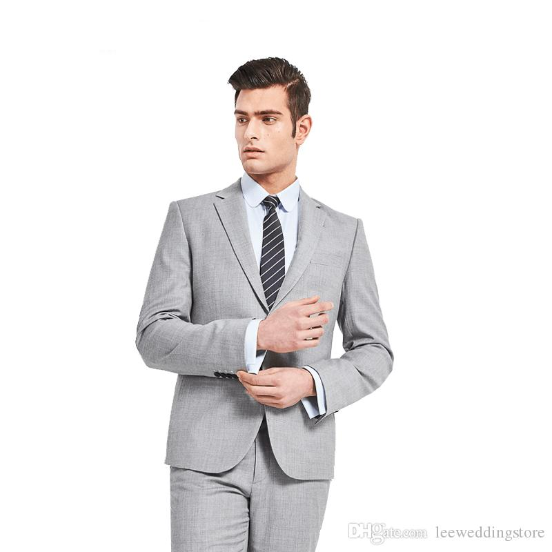 Taliored Made Light Grey Man Suit Single Breasted Business Suits ...
