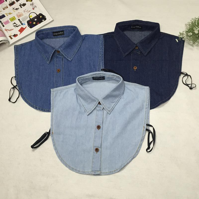 Women Denim Blouse Summer Vintage Denim Detachable Fake Collars for Women Men Shirts Collar Accessories