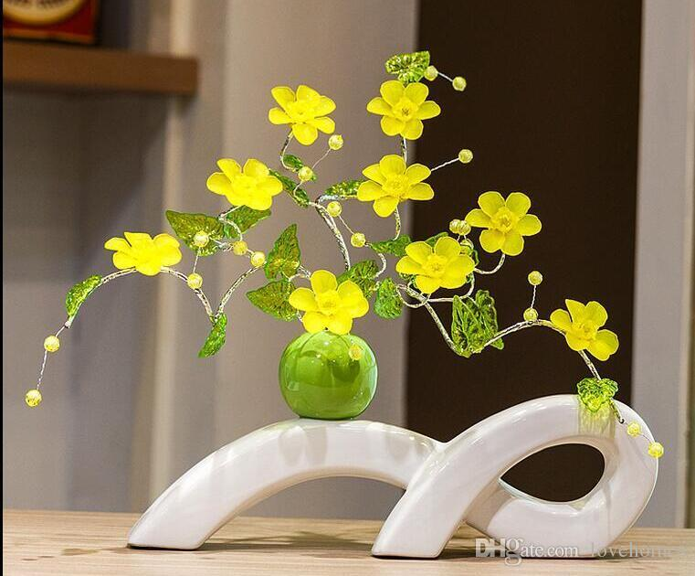 Modern Lucky long Shape Ceramic Vase for Home Decor Tabletop this pirce is for a set vase and flowers together