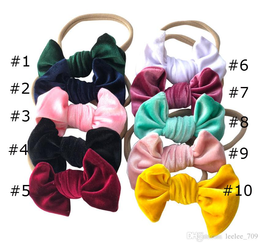 Baby Samt Bowknot Stirnbänder Mädchen Samt Bogen Haar Nylon Stirnband Zubehör Kinder Foto Requisiten 10 teile / los