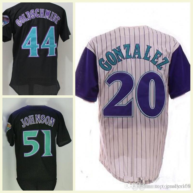 huge selection of 8a615 a8d92 Retro Arizona Randy Johnson Jersey 20 Luis Gonzalez Cream 9 Matt Williams  Black VINTAGE Baseball Jerseys Mesh
