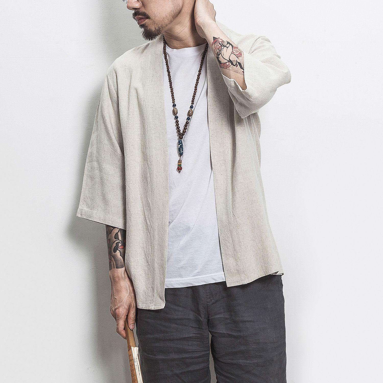5b2b84f82762e Satın Al Yeni Erkek Japonya Tarzı Kimono Gömlek Ceket Erkekler Moda Rahat  Pamuk Keten Hırka Gömlek, $43.09 | DHgate.Com'da