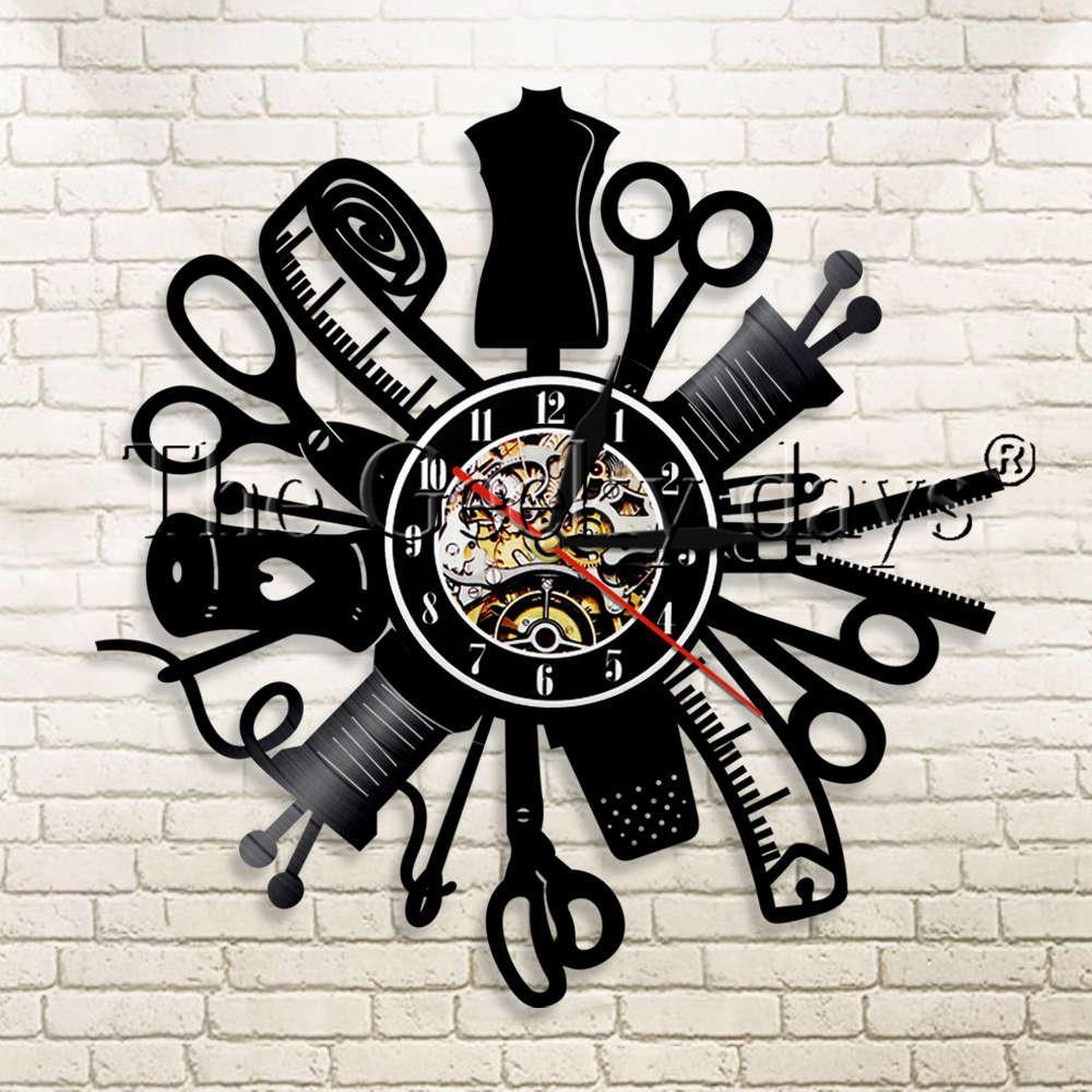 52d247fd896 Compre 1 Peça Máquina De Costura Quilting Ferramentas De Vinil Relógio De Parede  Relógio De Costura Costureira Moderna Parede Pendurado Decoração Relógio De  ...