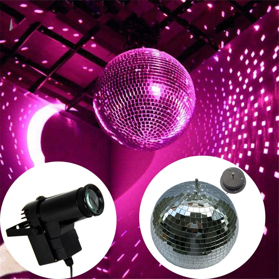 D20cm Clear Glass Rotating Mirror Ball With Rotation Motor 10w Rgb Beam Pinspot Disco Dj Stage Light Ktv Bar Party Lamps Lights For