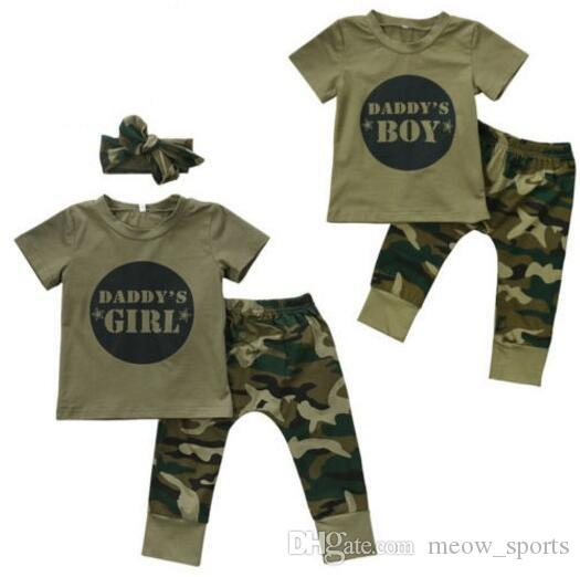 46b463cf0dbd6 Army Green Camouflage Baby Boys Girls Clothes Newborn Baby T-shirt Tops  Pants Outfits Infant Kids Clothing Set