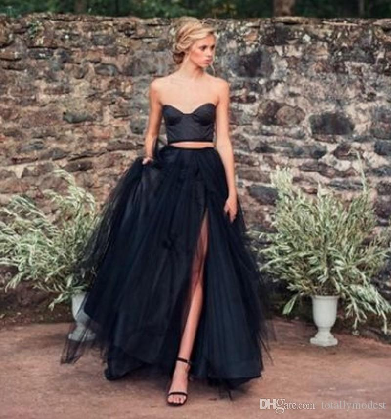 Discount 2018 Black Gothic Wedding Dresses With Color Colorful Non