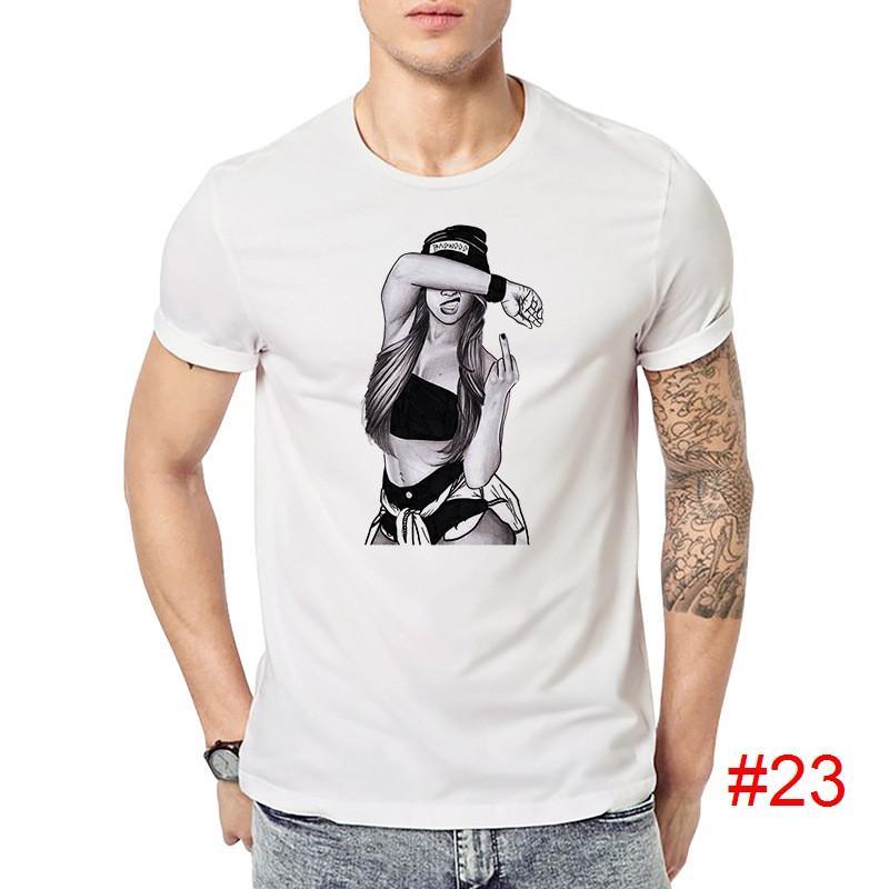 Compre Algodão Padrão De Impressão Vários Homens Casuais O Pescoço Camiseta  Moda Masculina Tops Homens T Shirt De Manga Curta Camisa Dos Homens Verão  DHL ... 40a59528f8c32