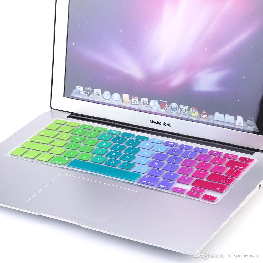 """Rainbow Silicone Keyboard Case Cover Skin Protector for iMac Macbook Pro 13"""" 15"""" retina Rainbow Protector US Euro Layout"""
