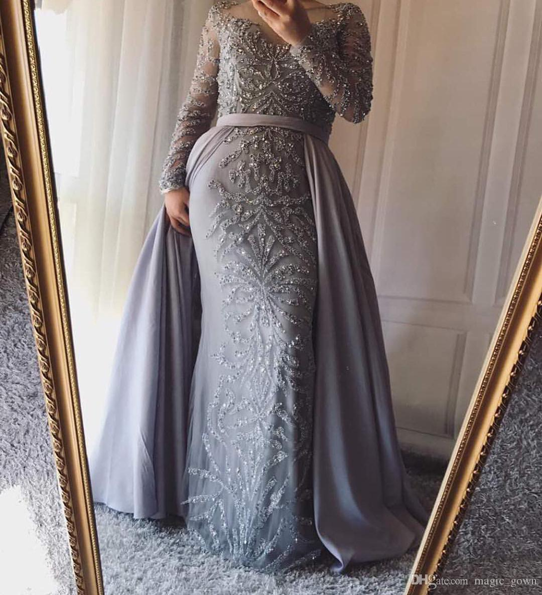b226a3517a990 Dubai Arabic Luxury Beads Sequined Mermaid Evening Dresses with Detachable  Train Long Sleeves Formal Dresses Evening Wear robe de soiree