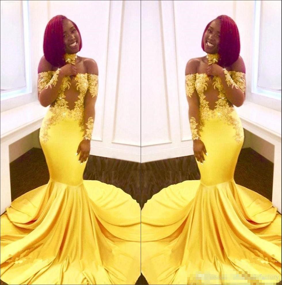 2018 черные девушки с плеча атласная русалка длинные платья выпускного вечера прозрачные длинные рукава кружева аппликация вечерние платья