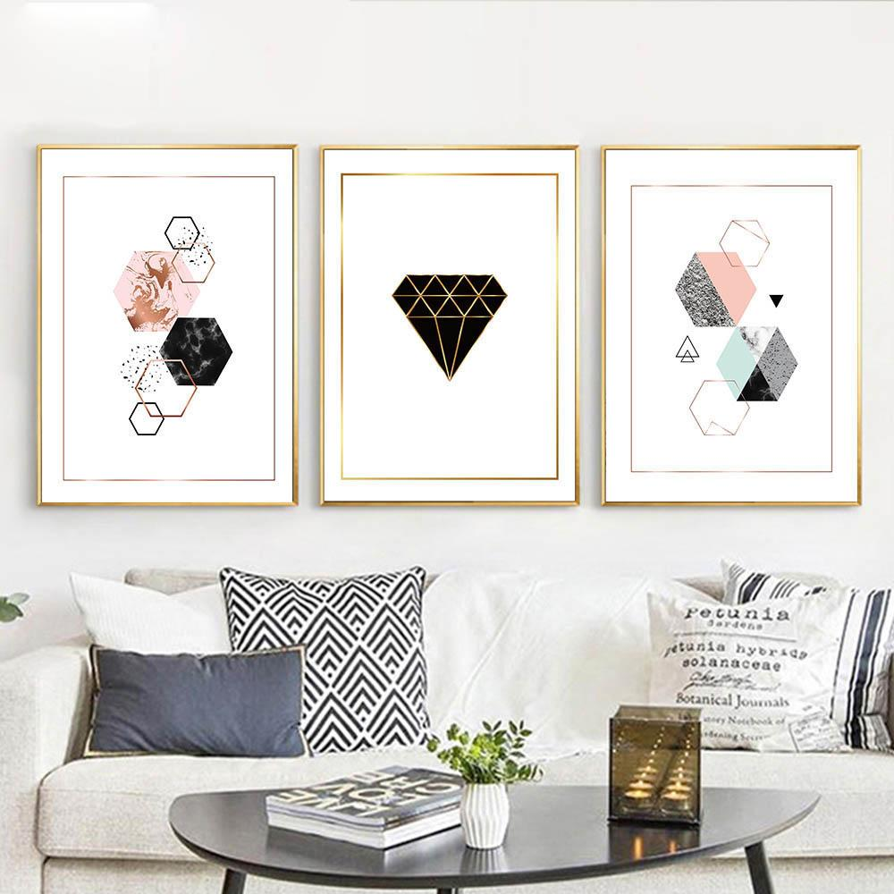 Geometric Diamonds Wall Art Canvas Posters Prints Abstract Painting ...