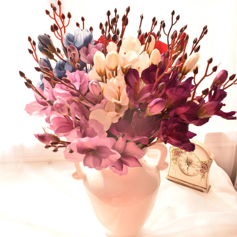 2018 silk yulan magnolia artificial flower bouquets for wedding home 2018 silk yulan magnolia artificial flower bouquets for wedding home table living room decoration red blue white purple fake flowers from fl3310 izmirmasajfo