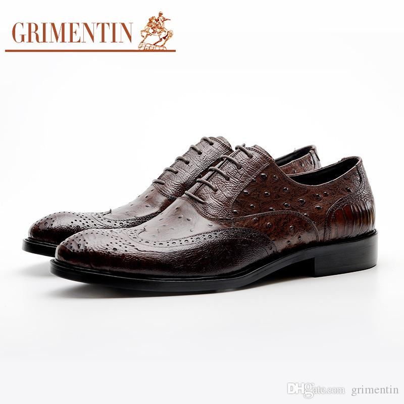 c7d6039618484 Grimentin Hot Sale Mens Dress Shoes Italian Fashion Oxford Shoes Genuine  Leather Pointed Toe Black Brown Lace Up Formal Mens Shoes YJ