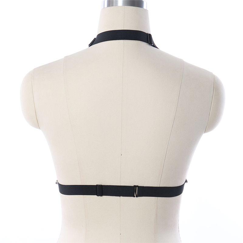 Reggiseno a gabbia aperta Goth Cinture a elastico il corpo Cintura con giarrettiera Fibbia in metallo Bondage Lingerie Fetish Wear Harness Bra