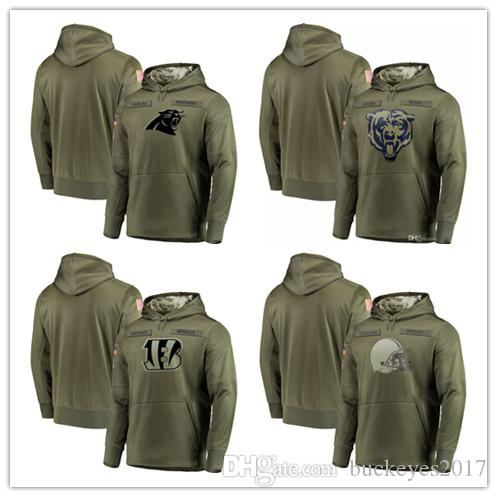 sports shoes 77923 a63d8 2018 Men s Carolina Panthers Sweatshirt Olive Chicago Bears Salute to  Service Cincinnati Bengals Cleveland Browns Sideline Pullover Hoodies