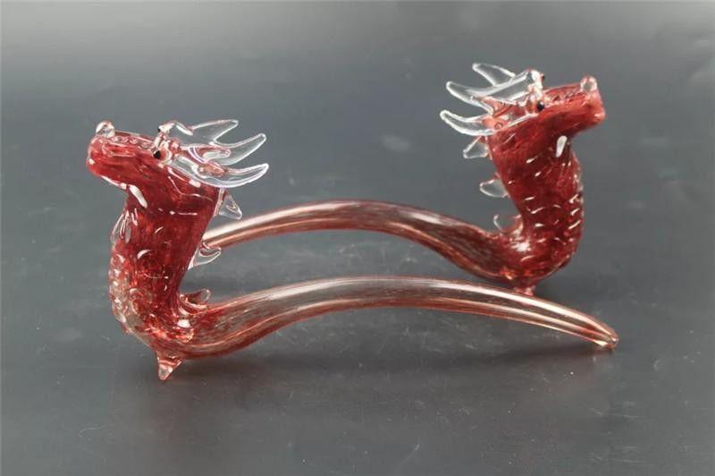 24cm Glass Hand Pipe Dragon Head Shap Hookah Water pipes for smoking glass spoon water pipe dragon preferential sound modelling bubbler pipe