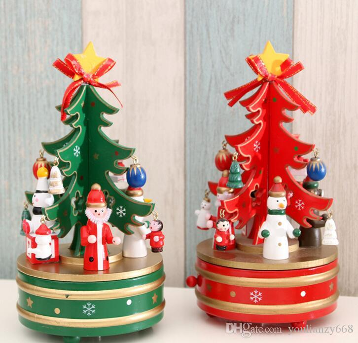 Wholesale Christmas Decorations Christmas Wooden Revolving Boxes of Music  Boxes Christmas Trees Decorated with Children's Gifts Christmas Music Box  Online ... - Wholesale Christmas Decorations Christmas Wooden Revolving Boxes Of