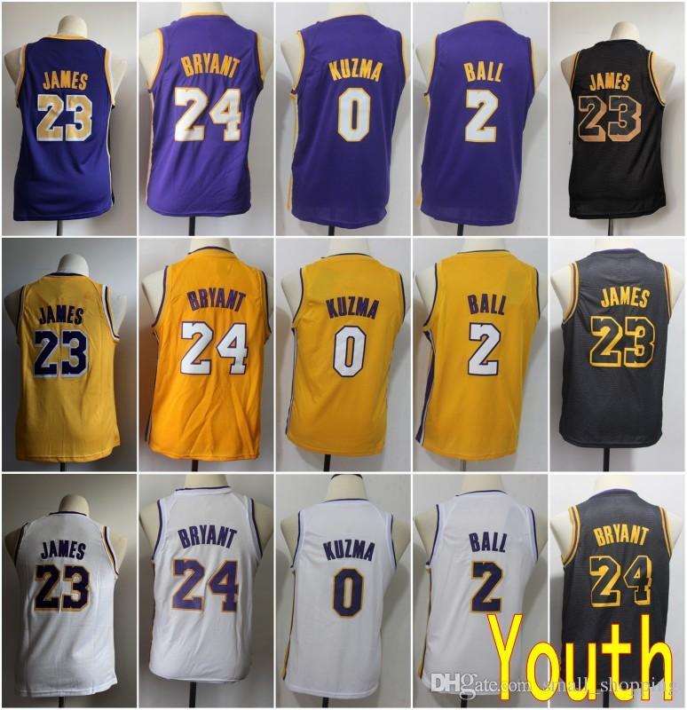 huge selection of ebf5b 5ae06 Youth Kids Los Angeles 23 LeBron James Lakers Jersey 24 Kobe Bryant 0 Kyle  Kuzma 2 Lonzo Ball Basketball Stitched Size S-XL