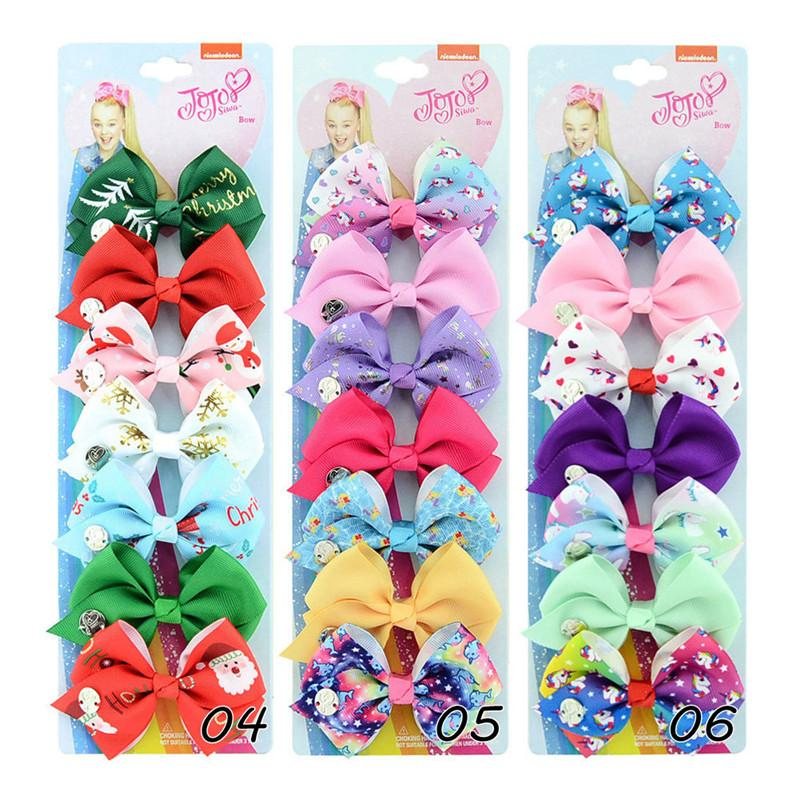 Christmas JOJO bow bowknot 7 pcs/set baby girls sequin hair bows barrettes rainbow clippers hair clips jojo hair accessory for girls fashion