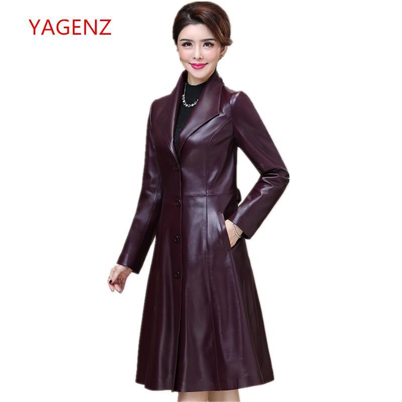 competitive price e095c adf45 Frauen Schaffell Mantel Damen echtes Leder Kleidung Herbst / Winter Damen  schwarz ausgestattete lange Mäntel Schafe Haut Windjacke K3738