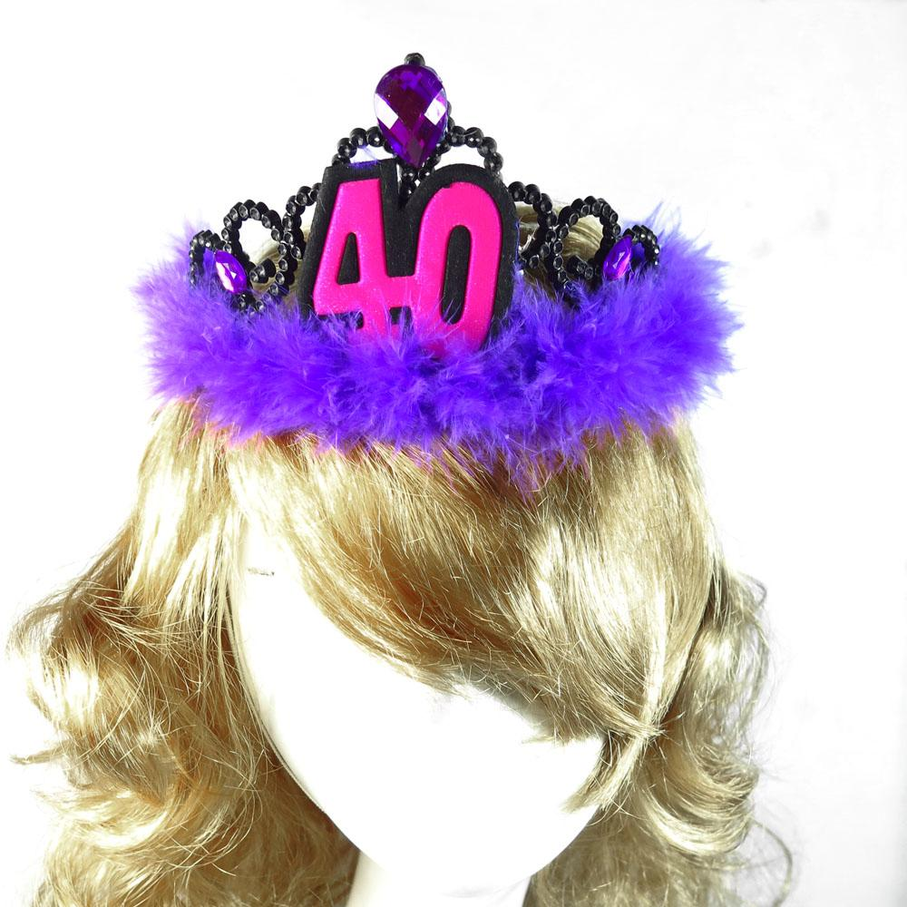 Event Party 40 Birthday Tiara Purple Adult Ceremony Hair Accessories 21 30 50 Woman Souvenirs Fun Happy Gift Pet Hats Photo
