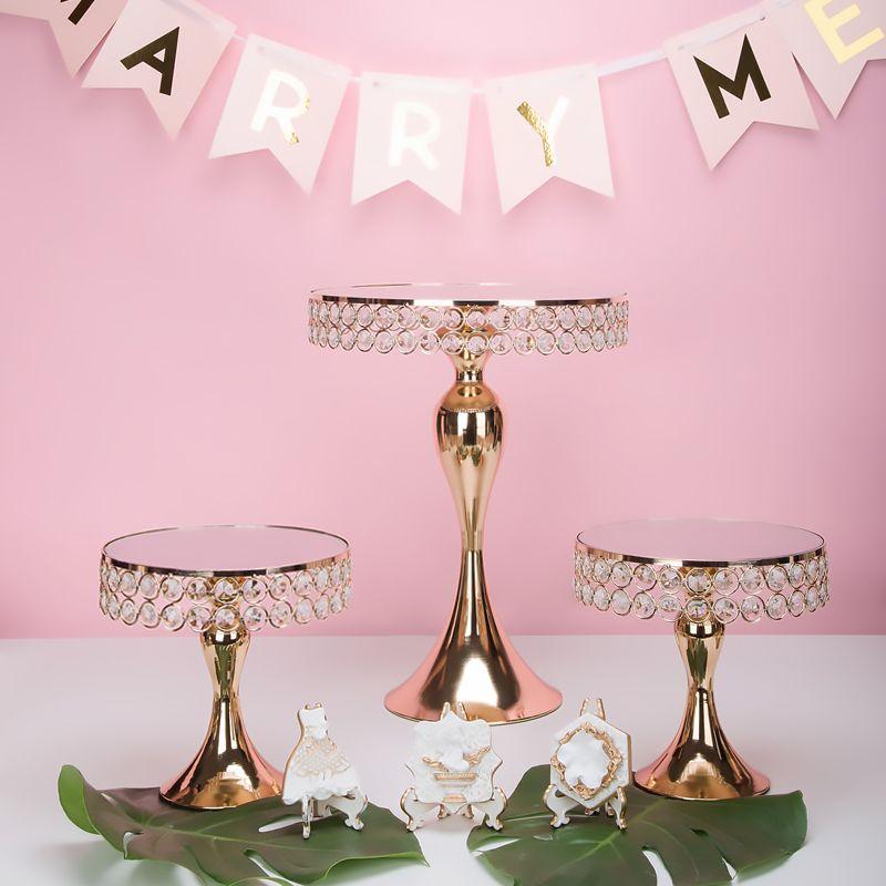 / set di lusso di cristallo dell'oro basamento supporto della torta torta pan decorata torta nuziale Cupcake tavolo di dolce candy bar centri tavola decorazione