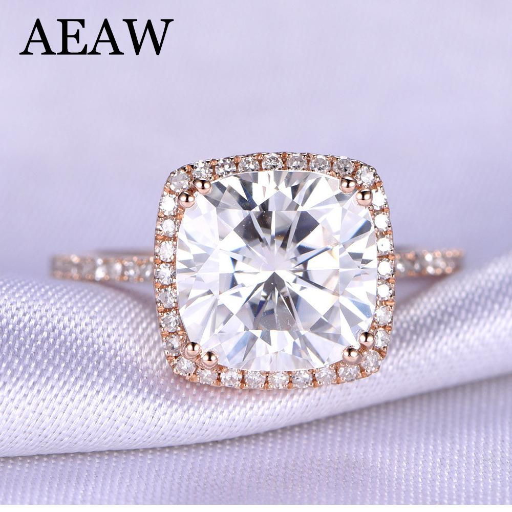3 Carat Ct Df Cushion Cut Engagement Wedding Moissanite Diamond Ring Double Halo Ring Genuine 14k 585 Rose Gold S923