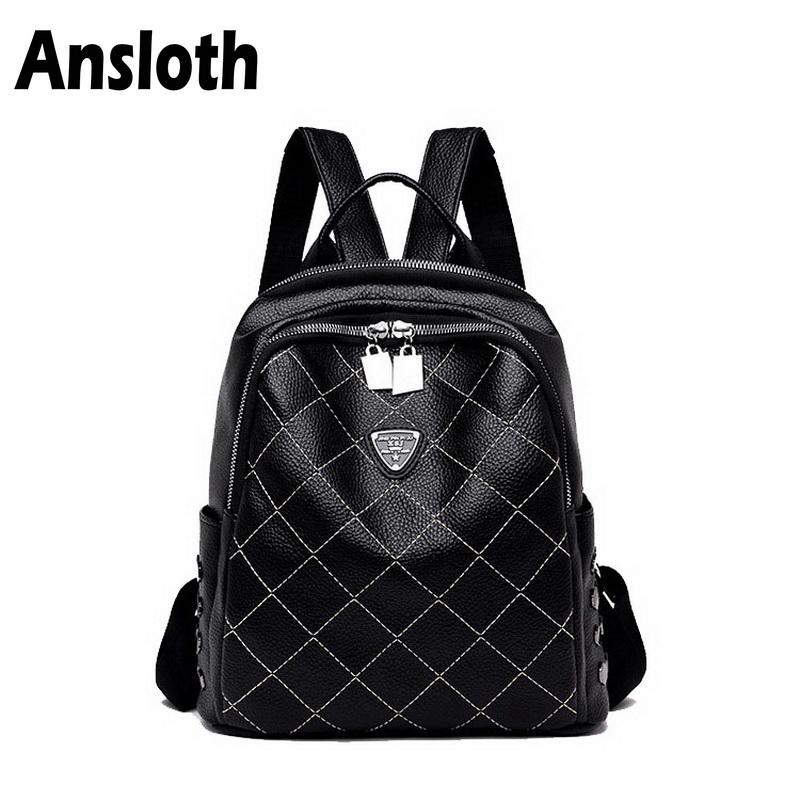 75b577df4b Ansloth Classic Plaid Women S Backpacks Fashion Rivet PU Leather Bag For Teenage  Girls School Backpack Female Travel Bag HPS196 Dakine Backpack Best ...