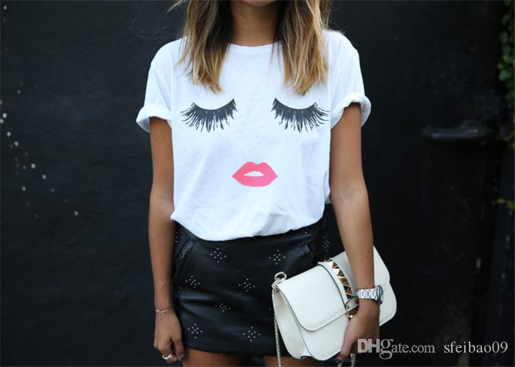 Women T-shirt O Neck Eyelashes Red Lips Print Casual Plus Size S- 5XL Short Sleeve Europen American Summer Fashion Tops