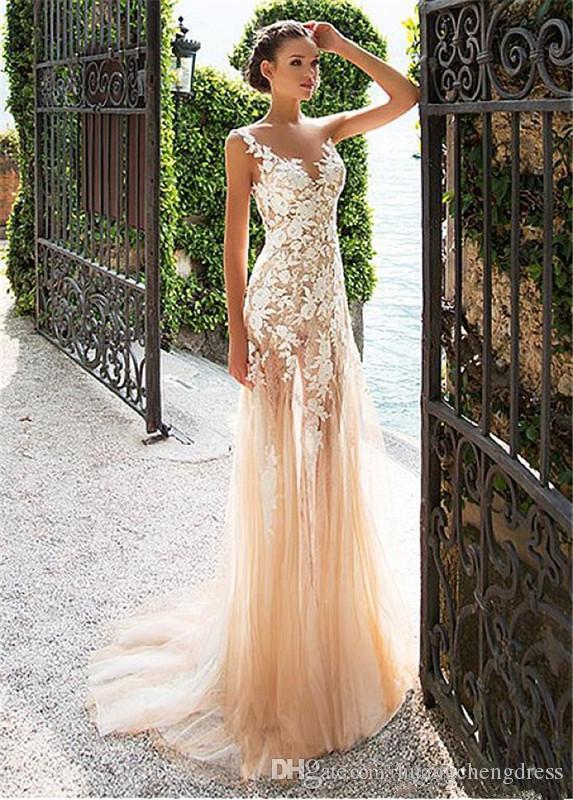Meraviglioso tulle in pizzo con scollo a barchetta con scollatura a vista abito da ballo con applicazioni in pizzo champagne abito da sera vestido de formatura