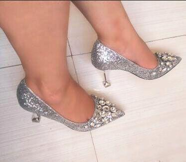 ab93149fc9ff Acheter Élégant Chaussures De Mariage De Mariée Cristal Strass Chaussures À Talons  Hauts Mousseux Discothèque De Mariage Princesse Chaussures Argent De ...