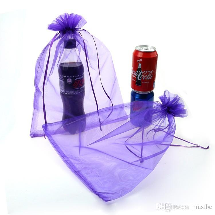 25x35cm Purple Candy Packaging Bags Organza Bags Promotional Gifts Customized Logo Bag Saco De Organza
