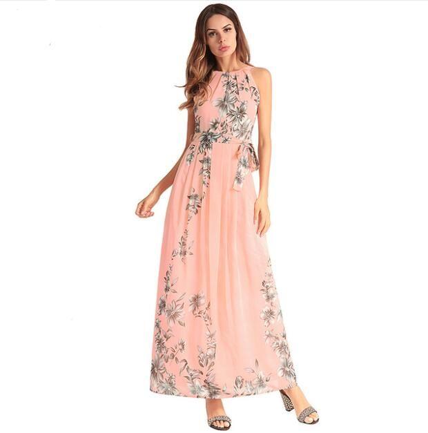 03055890f25a 2018 New Women Summer Dress Chiffon Halter Floral Print Maxi Dresses Tunic  Sleeveless Party Boho Vestidos Lining Long Beach Robe Black Cocktail Dress  Satin ...